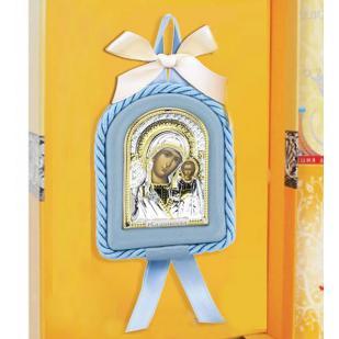 Икона детская Казанская БМ голубая