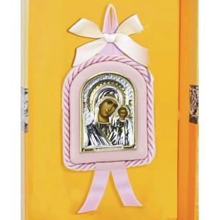 Икона детская Казанская БМ розовая фото