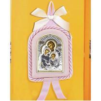Детская икона Св. Семейство розовая