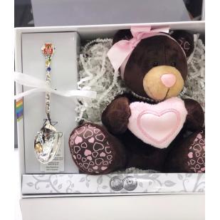 Набор подарочный с игрушкой и ложкой девочке фото