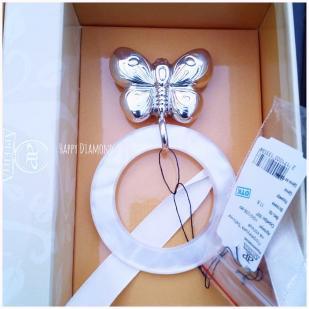Серебряная погремушка Бабочка на кольце