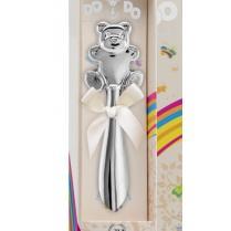 Детская погремушка с мишкой серебряная