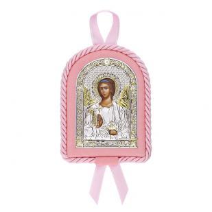 Икона детская Ангел Хранитель розовая фото