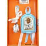 Подарок мальчику на крестины (икона с ложкой серебро)