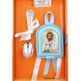 Подарок мальчику на крестины (икона с ложкой серебро) фото
