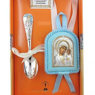 Подарок мальчику на крестины (икона +ложка серебро)