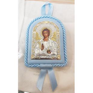 Икона детская Ангел Хранитель голубая фото