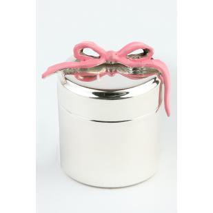 Шкатулка на первый зуб серебряная с розовой лентой фото