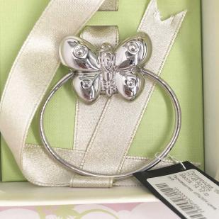 Погремушка для девочки с бабочкой из серебра фото
