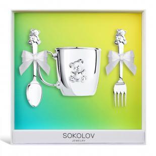 Детский набор серебряной посуды Мишутка фото