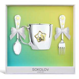 Детский набор посуды Звездочка (ложка, вилка, кружка) фото