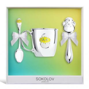 Детский набор посуды Цыпленок (ложка, кружка, погремушка) фото