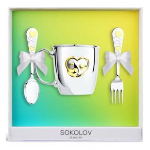 Детский набор серебряной посуды Сердечко фото