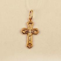 Золотой крестик пустотелый